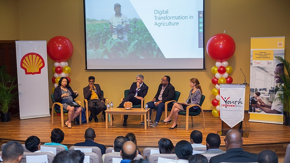 "(L-R = Racquel Moses (Microsoft), Ronald Roach (SWMCOL), Dr. Thackwray ""Dax"" Driver (Trinidad and Tobago Energy Chamber), Omardath Maharaj (Agricultural Economist), Ana-Lia Ferrero (Shell Trinidad and Tobago)"